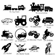Small Silhouette Icons - 7cm - Transport Theme - Planes Trucks Cars ...