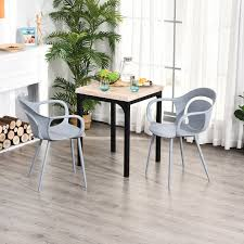 homcom 2 teiliges esszimmerstuhl set stuhl küchenstuhl stahl kunststoff grau