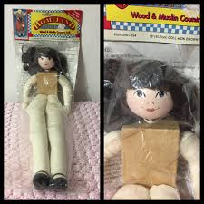 Vintage Deadstock Wood And Muslin Country Doll In The Original Etsy