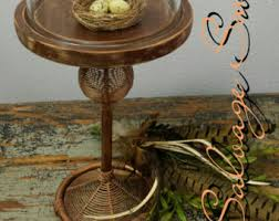 Dispay Cloche Rustic Copper Cake Stand Wood Display Dessert