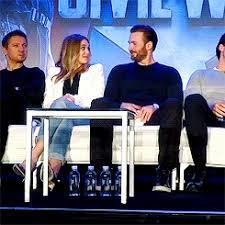 Elizabeth Olsen And Chris Evans At Captain America Civil War Press Conference On April 10