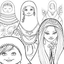 Matryoshka Doll Russian Coloring Book Pages By IvyLilyArt