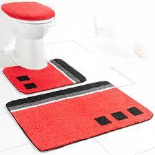 sensino badezimmer garnitur für stand wc 3 tlg rot