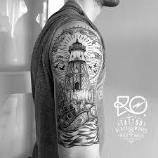 Tattoo Line Dot Work Tattoos Ocean Lighthouse
