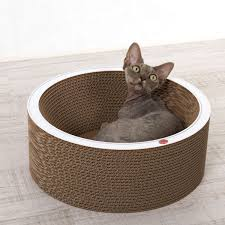 cat on cat on bowl cat bed made from corrugated cardboard profeline