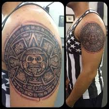 Aztec Tribal Shoulder Tattoos