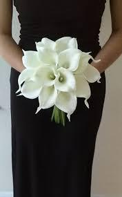 White Calla Lily Bridal Bouquet with Calla Lily Boutonniere Real