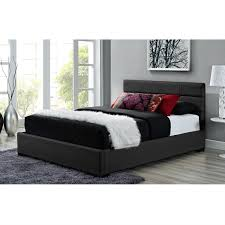 Bekkestua Headboard Attach To Wall by Queen Size Black Faux Leather Upholstered Platform Bed Frame With