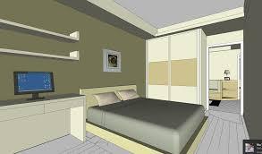 schlafzimmer design mit schreibtisch und computer skp