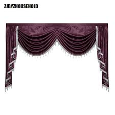 Purple Pure Color Valance Curtains For Living Room Swag Lambrequin Dining Curtain