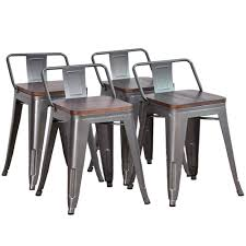 DeKea 18 Inch Metal Stools With Wooden Top Dining Chairs [Set Of 4] For  Kitchen Or Indoor/Outdoor Barstools, Low Back Gunmetal Why We Dont Sell Suar Wood Ding Room Chair Wooden Chairs Buy Chair Remarkable Oak Bar Stools With Backs Premium Padded Rumba Side Chair 400 15 Inexpensive That Look Cheap Amazoncom Muju 30 Low Back Metal With Kitchen Arms High Living Fniture Muji Wikipedia Outstanding Counter Height 21 Comfortable Modern For Viewing Nerihu 750 Solo Product