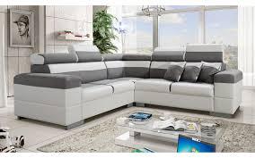 canape d angle canapé d angle colorado gris et blanc avec têtières inclinables