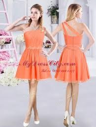 One Shoulder Sleeveless Zipper Mini Length Ruching Bridesmaids Dress