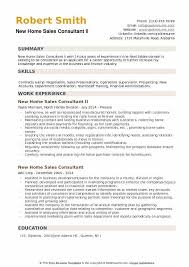 New Home Sales Consultant II Resume Format