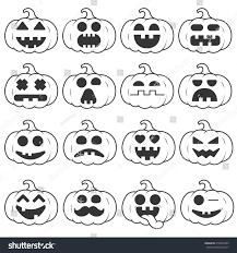 Emoji Pumpkin Carving Designs by Set Icon Emoji Pumpkin Black Line Stock Vector 478439365