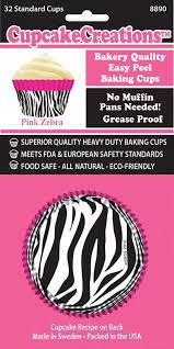 Standard Pink Zebra Cupcake 32 Piece