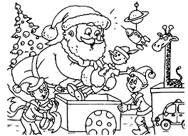 Santa And Elf Christmas Coloring Pages Printable Within For Kids