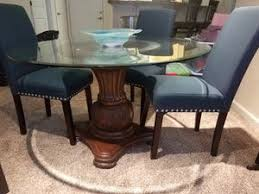 Dining Table With Glass Top And Quality Carved Wooden Bottom 4 BRAND NEW Chairs For