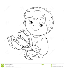 Coloring Page Outline Of Boy With Bouquet Tulips Stock Photos