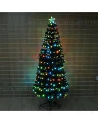 6ft 180cm Pre Lit LED Fibre Optic Christmas Tree 18 Digital Effects Xmas Decor