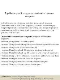 Top 8 Non Profit Program Coordinator Resume Samples 10 Clinical Research Codinator Resume Proposal Sample Leer En Lnea Program Rumes Yedberglauf Recreation Samples Velvet Jobs Project Codinator Resume Top 8 Youth Program Samples Administrative New Patient Care 67 Cool Image Tourism Examples By Real People Marketing Projects Entrylevel Data Specialist Monstercom