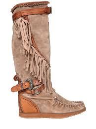 el vaquero 70mm silverstone fringed wedged boots beige u0fcqklb0