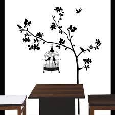 ambiance zen salle de bain 14 arbre et cage oiseau stickers
