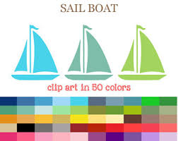 50 Colors Digital SAILBOAT Clipart Nautical Party Clipart Sailboat png Cutting SVG Boat sihouette Marine Style
