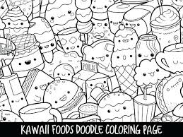 Kawaii Animal Coloring Pages Foods Doodle Page Printable Cute Of Animals Drawings Hand Drawn