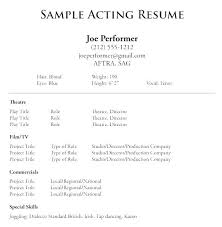 Talent Resume Template Actors Word Example Of Actor Examples
