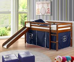 Low Loft Bed With Desk by Low Loft Bed With Blue Tent U0026 Slide Espresso Bedroom Furniture Beds