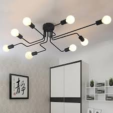 großhandel moderne deckenleuchte rod schmiedeeisen deckenleuchte retro industrial loft le für wohnzimmer esszimmer leuchten