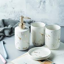 keramik badezimmer sets 4 teiliges badezimmer zubehör set komplettes set waschtisch aufsatz zubehör set mit seifen lotionspender becher weiß 4