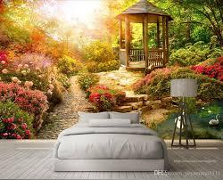 großhandel romantische wandmalereien wohnzimmer schlafzimmer dekoration tapete garten 3d wasserdichte tapete für küche badezimmer yeyueman1111