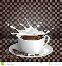 Cup Of Coffee With A Splash Milk On Transparent Background
