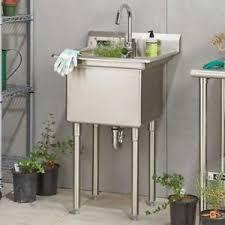 trinity stainless steel utility sink with faucet new free