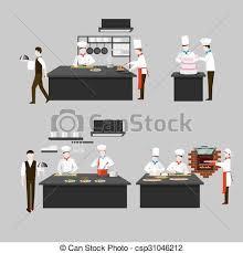 Cooking Process In Restaurant Kitchen Vector