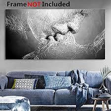 essort wandbild druck auf leinwand schwarz weiß motiv kuss schönes bild für wohnzimmer schlafzimmer restaurant hotel schwarz weiß 100 60cm