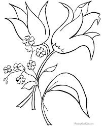 Easter Flower Coloring Book Page