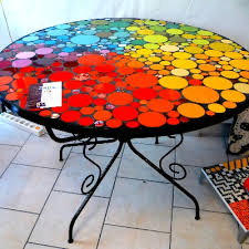 table ronde mosaique fer forge table ronde mosaique tables objets mosaïque atelier de