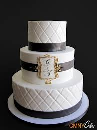 Black And White Monogram Wedding Cake