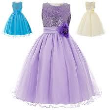 kids flower girl dress dream sequin tutu bridesmaid wedding
