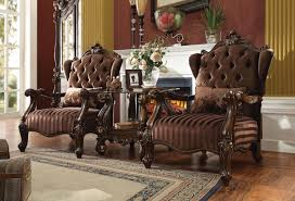 100 Dining Room Chairs With Oak Accents Acme 52082 Versailles 3Pcs Brown Velvet Cherry Finish Accent