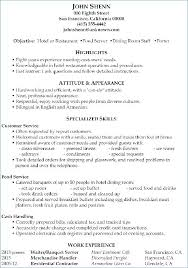 Resume Examples Waitress Experience Server Sample
