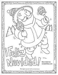 Feliz Navidad Printable Coloring Page Papa Noel Quiere Desearles Una More Christmas Spanish