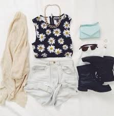 Tank Top Flowers Daisy Shorts Cute OutfitsSummer