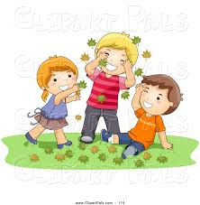 Pal Clipart Of A Girl And Two Boys Playing In Autumn Leaves On The