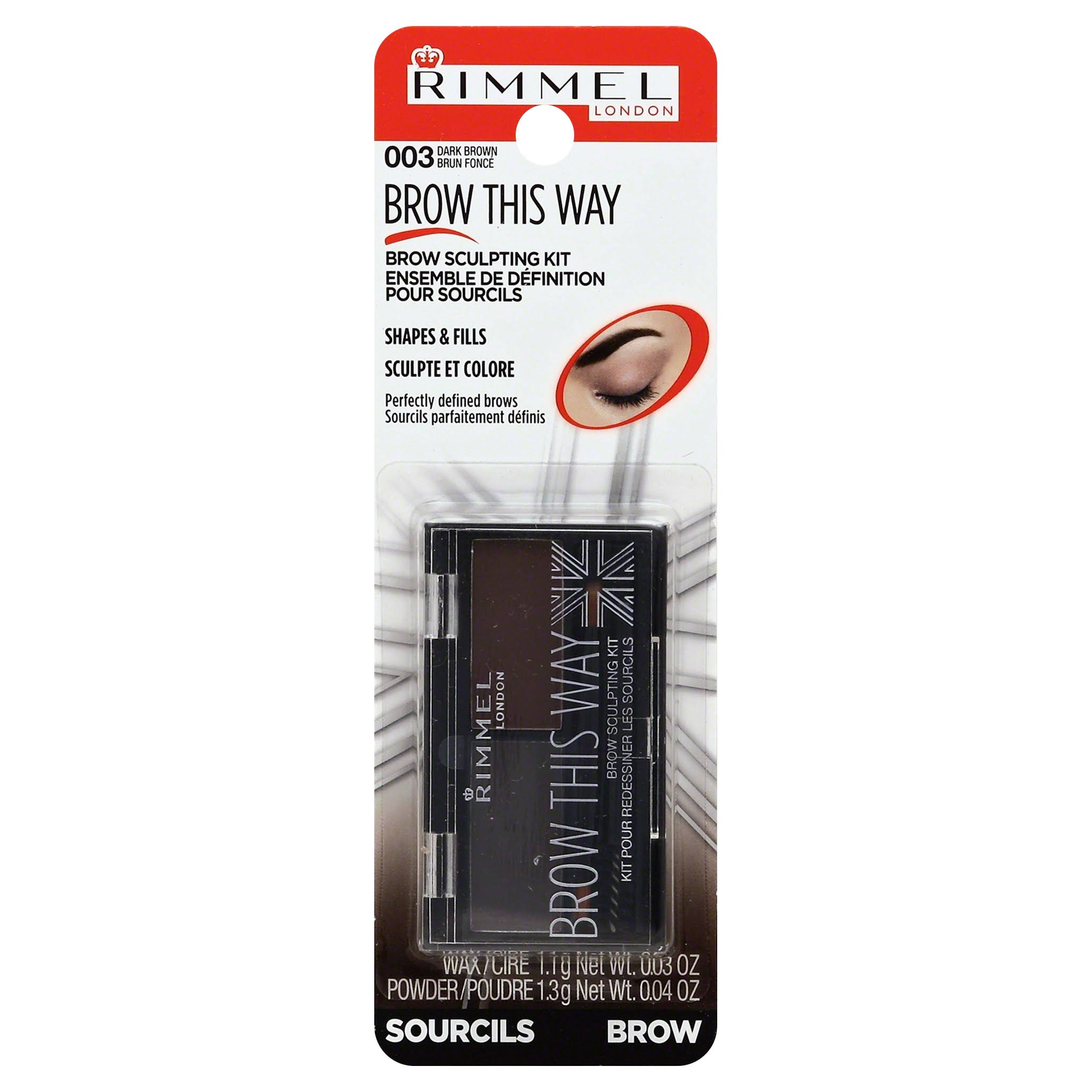 Rimmel London Brow This Way Brow Sculpting Kit - 003 Dark Brown