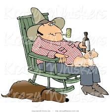 Critter Clipart Of A Farmer Man Smoking A Pipe And Drinking ...