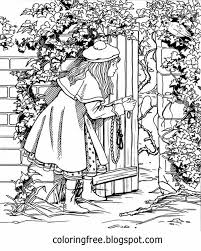 Girl At A Secret Gate Wooden Door Beautiful Garden Coloring Pages For Adults Printable Drawing Ideas